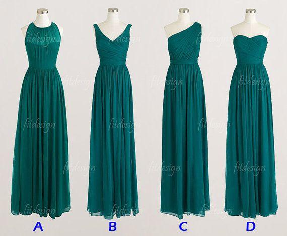 teal green bridesmaid dresses, long bridesmaid dresses, chiffon bridesmaid dresses, one shoulder bridesmaid dress, 1400306 on Etsy, $119.00