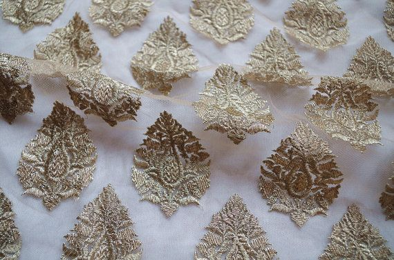 tessuto pizzo dell'oro pizzo floreale oro metallico di LaceFun