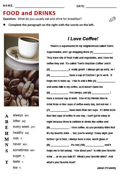 drinks english pdf esl printable lesson quizzes reading vocabulary things efl word plans banks worksheets coffee topics teachers writing games