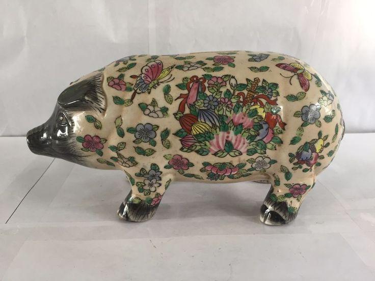 ANTIQUE VINTAGE CHINESE ASIAN PIG PIGGY BANK PORCELAIN 19th CENTURY