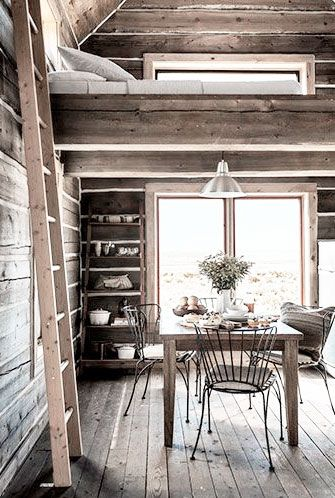 = cabin = dining, ladder and loft space