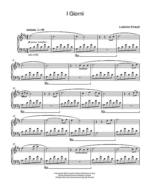 Ludovico Einaudi: I Giorni sheet music for piano: http://www.sheetmusicdirect.com/se/ID_No/47141/Product.aspx