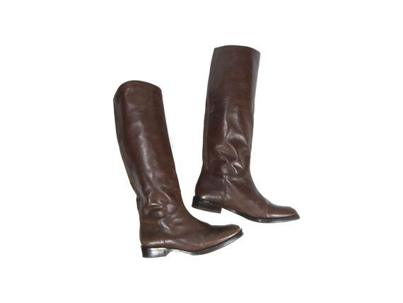 Size 6 Tall Brown Boots // Tall Leather by IntertwinedVintage