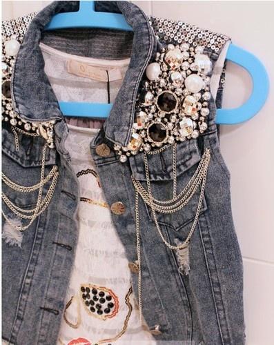 Embellished Denim Vest   eBay