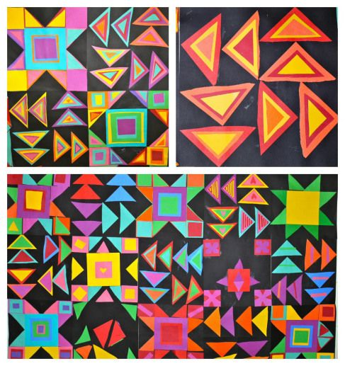 Students created a freedom quilt square for their class quilts last year during Black History Month. We started out the project by reading The Patchwork Path: A Quilt Map to Freedom by Bettye Stroud, a powerful story of a girl and her father escaping slavery to freedom on the Underground Railroad. The designs on the freedom quilts were said to have secret messages, helping to guide and protect the slaves on their way to freedom.