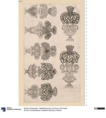 1 Blatt Bekrönung mit Vasen mit Federn     Druck      Renée Charpentier, Stecher      Material: Papier     Höhe x Breite: 28,7 x 16,6 (Darstellung)