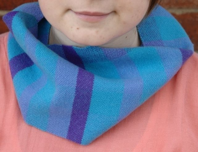 Hand Woven Lambswool Scarf Collar - Blue, Turquoise, Dark Purple £29.00