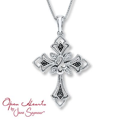 Diamond Necklace 1/20 ct tw Round-Cut  Sterling Silver ~ I love this cross and it's Jane Seymour's too!