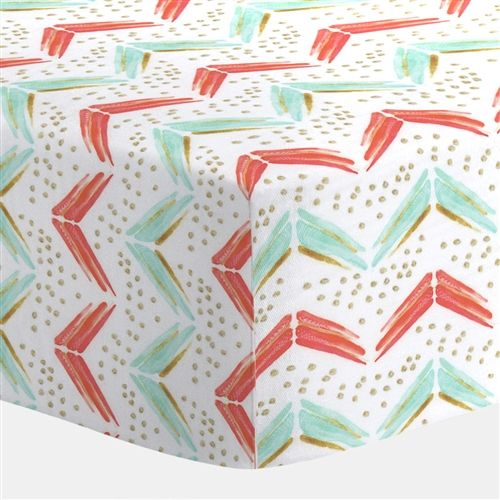 Crib Fitted Sheet in Coral and Teal Arrow by Carousel Designs.