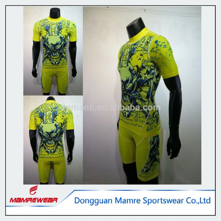 Custom design neon color dye sublimation printing compression shirts for men