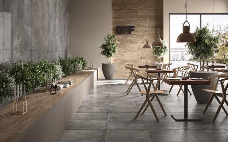 Il fascino del #metallo invecchiato e l'eleganza del #legno. Ambientazione moderna per la Collezione #Officine di Ceramiche @Mirageit. Scala di grigi e legni chiari scaldati dalla luce ambiente per un raffinato ristorante urbano. Concept: #AdvertFactory Realizzazione #3D #Rendering: #TerzoPiano