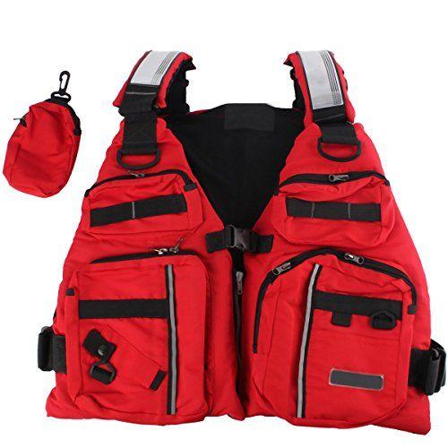 Life Vest, BINKBANG Red Adult Watersport Boating Vest Swimming Life Jacket Buoyancy Aid Sailing Kayak Canoeing Fishing Jacket Vest with Extra Pocket.