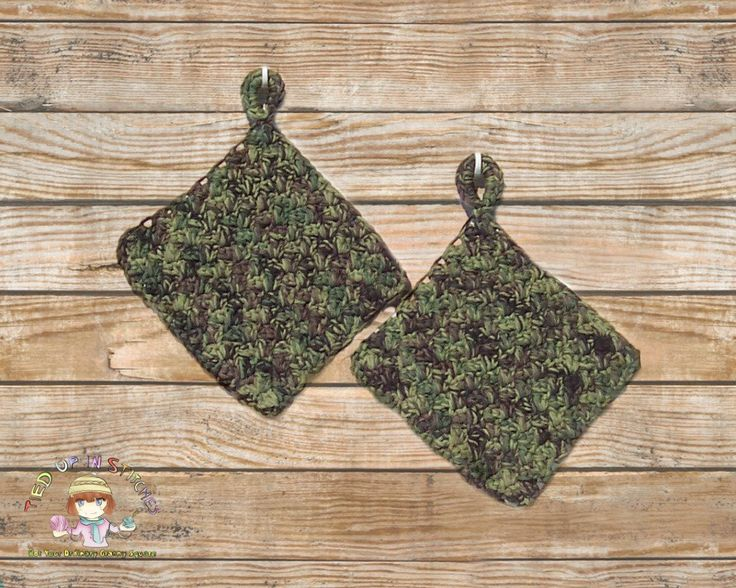 Crochet Potholders Camouflage Pot Holders Hot Pad Kitchen Decor Kitchen Wall Decor Rustic Decor Rustic Wall Decor Camo Decor Men Christmas by TiedUpInStitches on Etsy