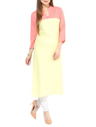 yellow,peach rayon regular kurta on LIMEROAD.COM