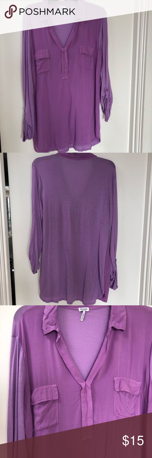 Splendid Purple Long Sleeve Top Sz XL Splendid Purple Top Sz XL  Fits loose but could fit a size M  *Preowned, excellent condition Splendid Tops Tees - Long Sleeve