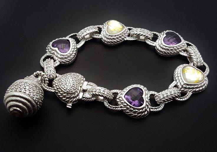 "Judith Ripka Sterling 7 1/2"" Amethyst & MOP Diamonique Heart Bracelet"