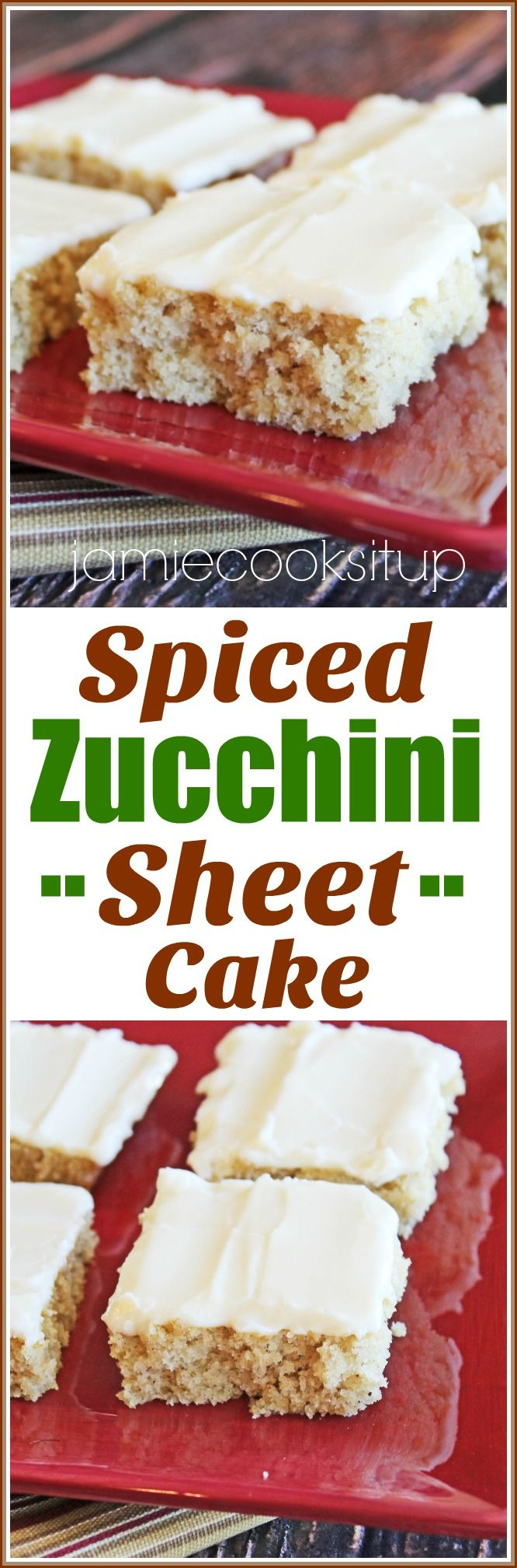 Spiced Zucchini Sheet Cake from Jamie Cooks It Up! A great way to use up that garden zucchini!
