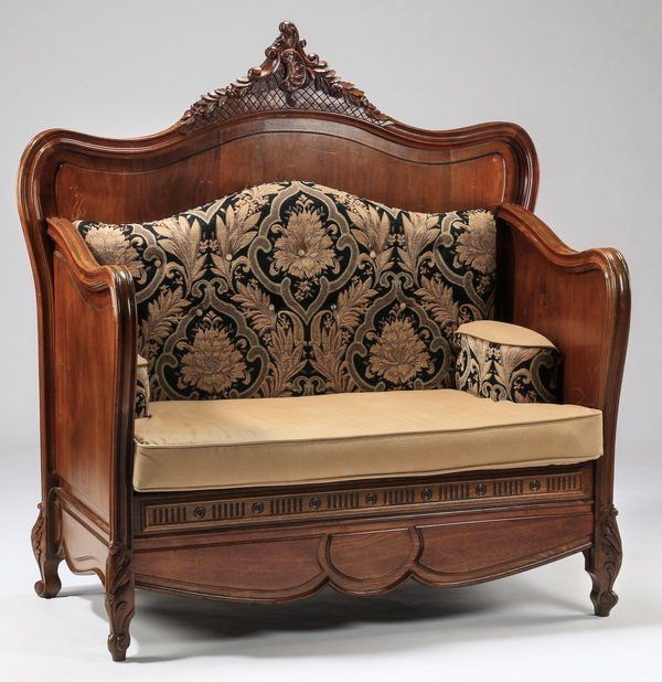 ~ 19th c. French Carved Walnut Hall Bench ~ new.liveauctioneers.com