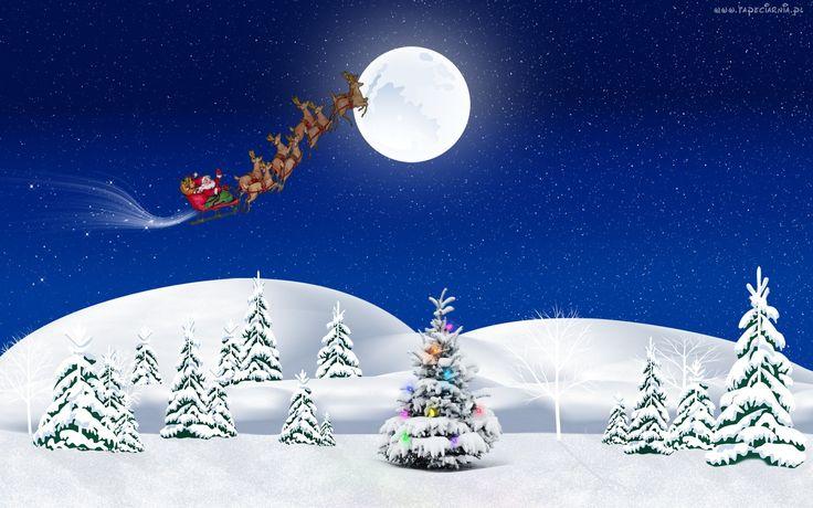 Góry, Choinka, Mikołaj, Sanie, Księżyc, Zima, Boże, Narodzenie