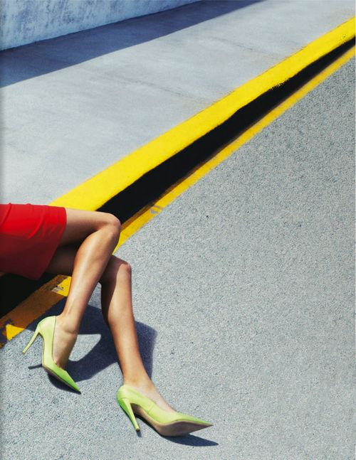 Rooney Mara by Rankin.  My note: Interesting composition,use of primary colors and geometric lines.