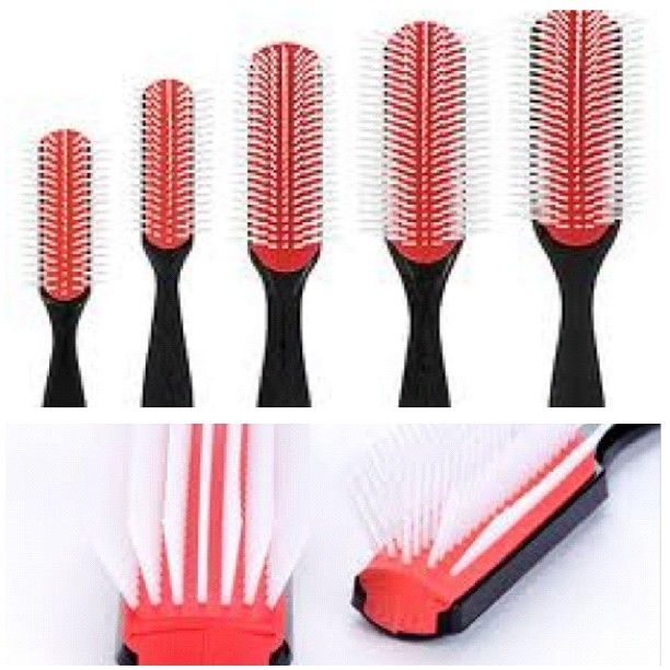 Denman Brushes are great for detangling and the tension method when flatironing/blow drying . They're rubber with nylon bristles leave hair feeling smooth. Many naturals modify the brush by removing every other row to better glide through thickness of their hair. Available online and at many beauty supply stores. Be aware of fakes (this is a brand not a type)