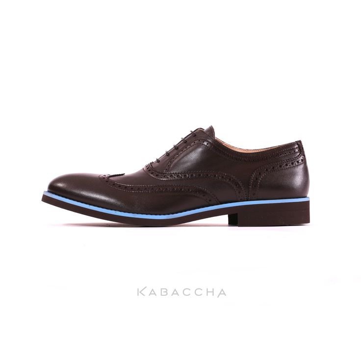 Kabaccha Shoes // Brown Nappa Leather & Sky Blue/ Brown Suede Sole Wingtip  #KabacchaShoes #Wingtips