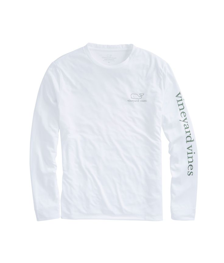 Long Sleeve Vintage Whale Performance White Cap T-Shirt