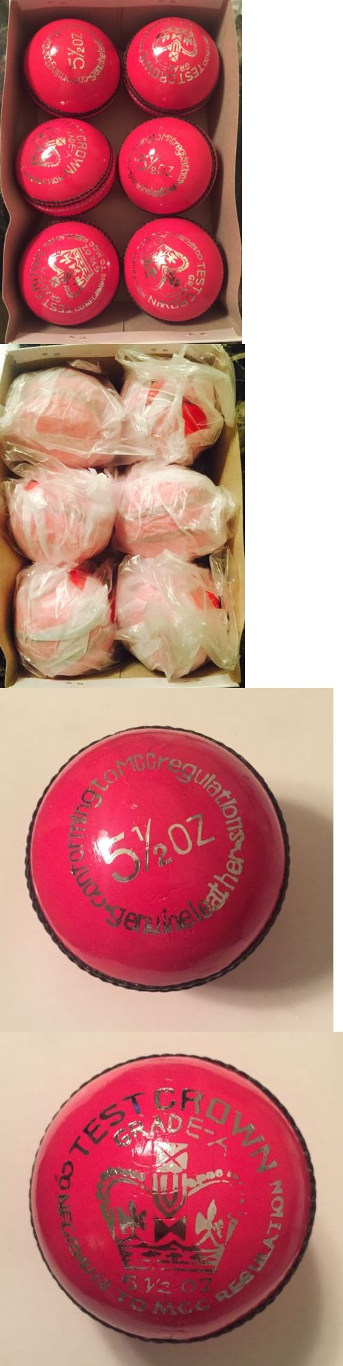Cricket 2906: Nwt 6 Pink Test Cricket Ball Leather Entirely Hand Stitched, 5.5Oz For 25 Overs -> BUY IT NOW ONLY: $59.99 on eBay!