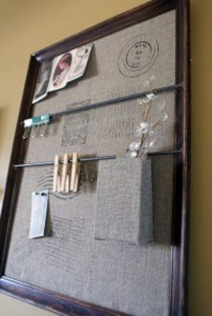 """Wall Organizer - inspired by Pottery Barn, & posted by: Johnnie Collier for """"Saved by Love Creations"""" (via FaveCrafts). Use this easy and fun DIY tutorial to get the look you love for less!  A hanging wall organizer like this is great for a kitchen or entryway."""