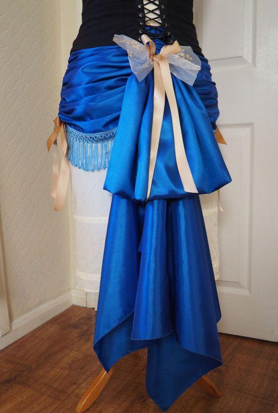 b2ae07bac8 Handmade bustle mini skirt made of royal blue taffeta + pale gold and gold  ribbons +