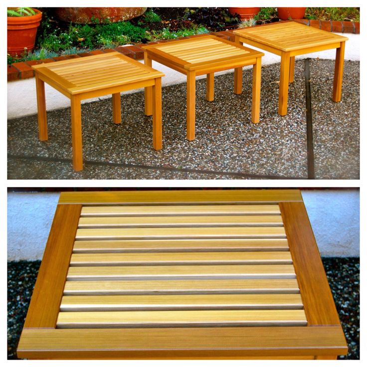 Western red cedar patio end tables. From the Newport collection. All wood construction. No nails or screws used. #woodworking #handmade #tables #upcycle #reclaimed