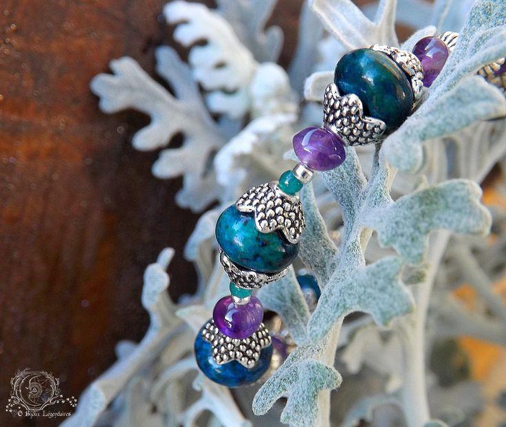 Bracelet larges Chrysocolle Améthyste, Onyx vert, Agate mousse et Agate facettée: ᘛ Lapidaire du givre aux fées ᘚ : Bracelet par obijouxlegendaires