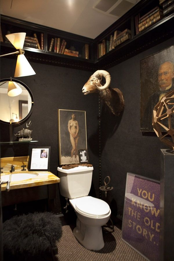Cool and dark bathroom.