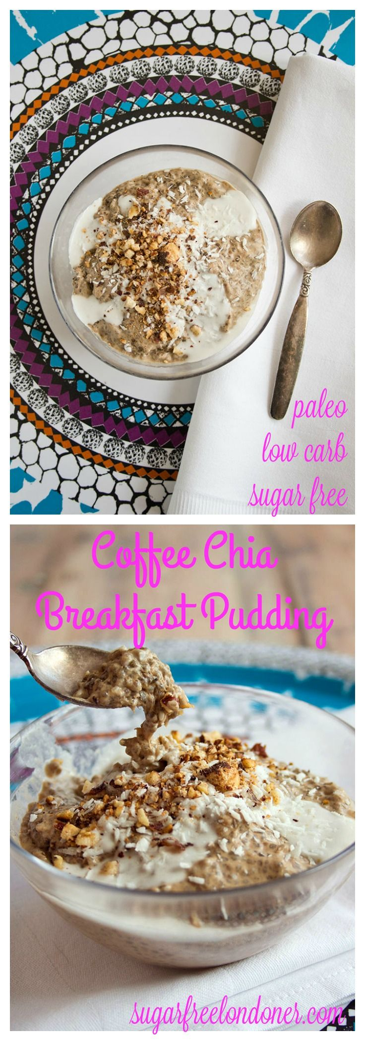 Easy to make and intensely delicious: Prepare this coffee chia breakfast pudding in advance and enjoy it the next morning. A sugar free, low carb, vegan and gluten free breakfast.