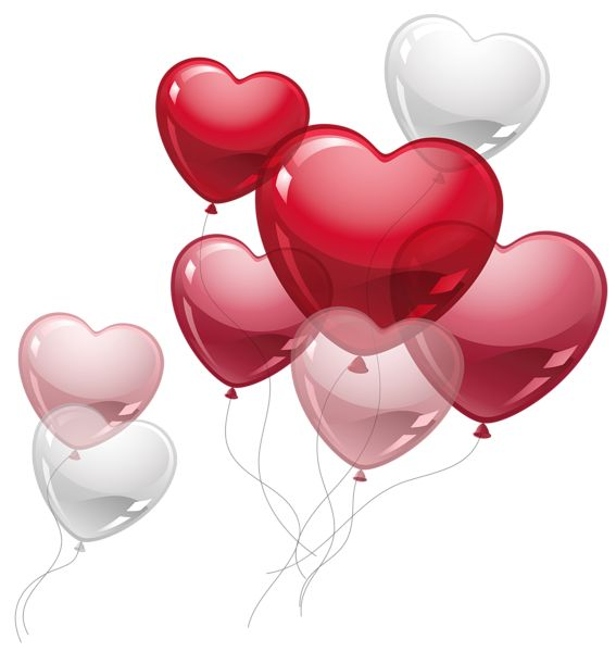 Cute Heart Balloons PNG Clipart Picture