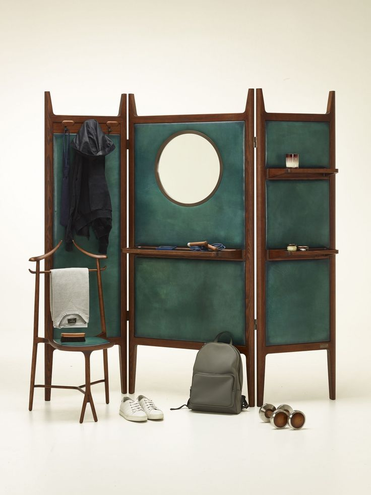Berluti x Ceccotti Collezioni | dressing screen, pour homme, by Giuseppe Casarosa | chair based on a 1992 design by Roberto Lazzaroni