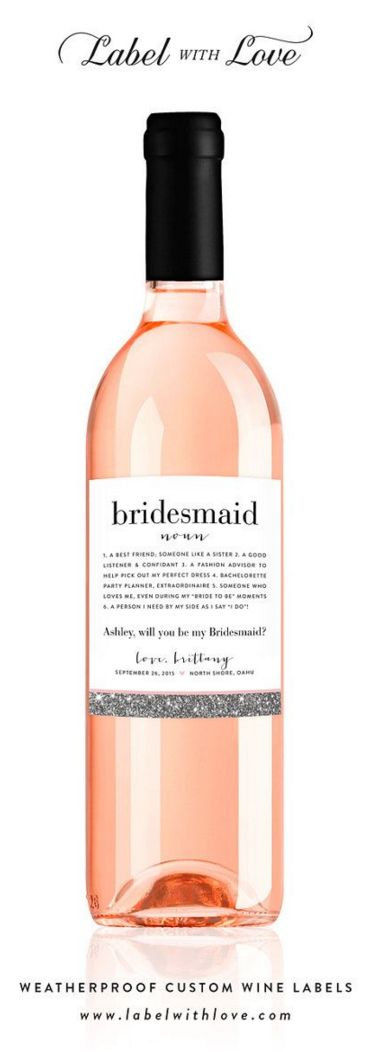 """Custom """"Will You Be My Bridesmaid"""" Wine Labels - Be My Maid of Honor Ask Bridesmaid Card Faux Silver Glitter"""