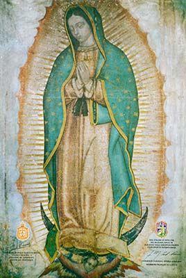 Dans le sanctuaire construit à Sa demande, Elle continue d'appeler tous les peuples à aimer son Fils et est invoquée sous le titre d'« Étoile de l'évangélisation » par saint Jean-Paul II.  Notre-Dame de la Guadalupe, priez pour nous !