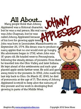 "This is a FREE sample from my apple unit ~  Johnny Appleseed : An ""A-peeling"" Apple Thematic Unit"