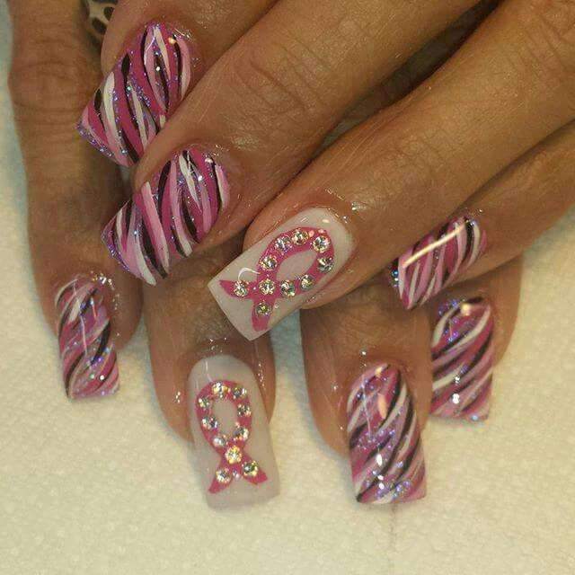 Best 25 cancer nails ideas on pinterest october nails breast breast cancer awareness prinsesfo Images