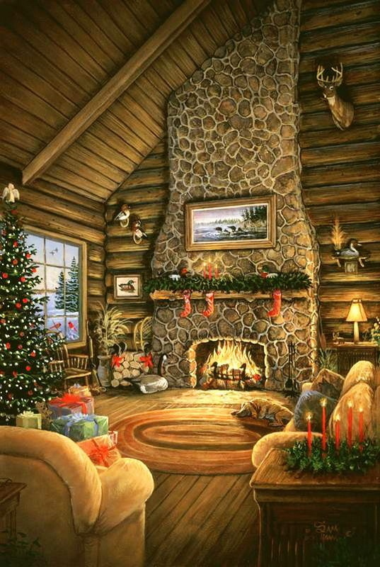 100 best images about christmas winter art scenes on for Country cabin christmas