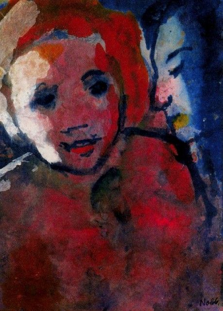Emil Nolde - Couple (Red and Blue) in Sidelight