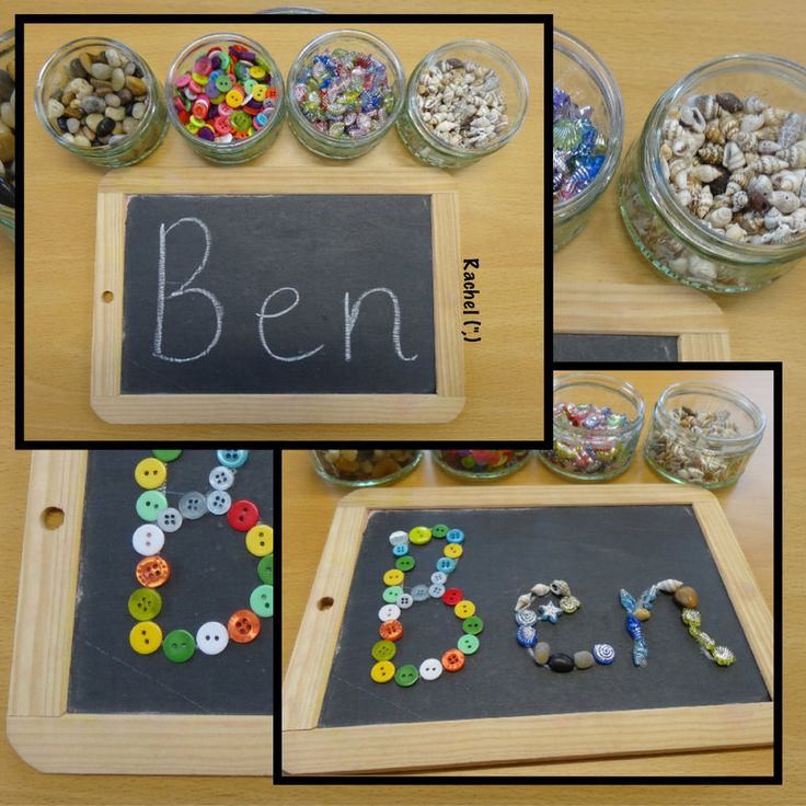 "Tracing names with loose parts from Rachel ("",)"