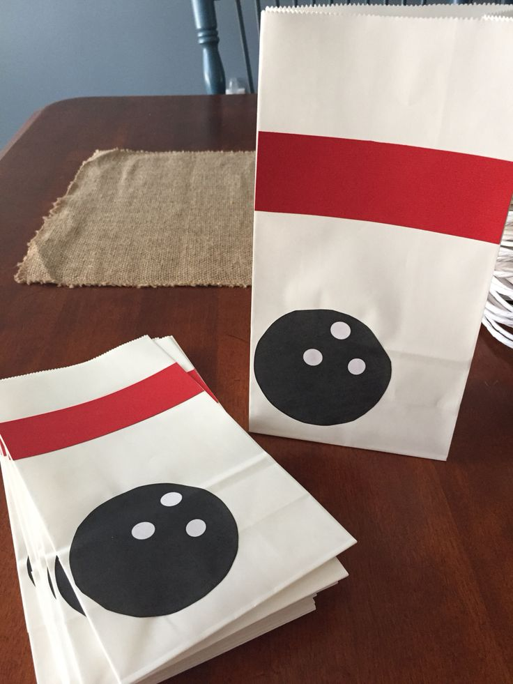 Bowling favor bags.                                                                                                                                                     More