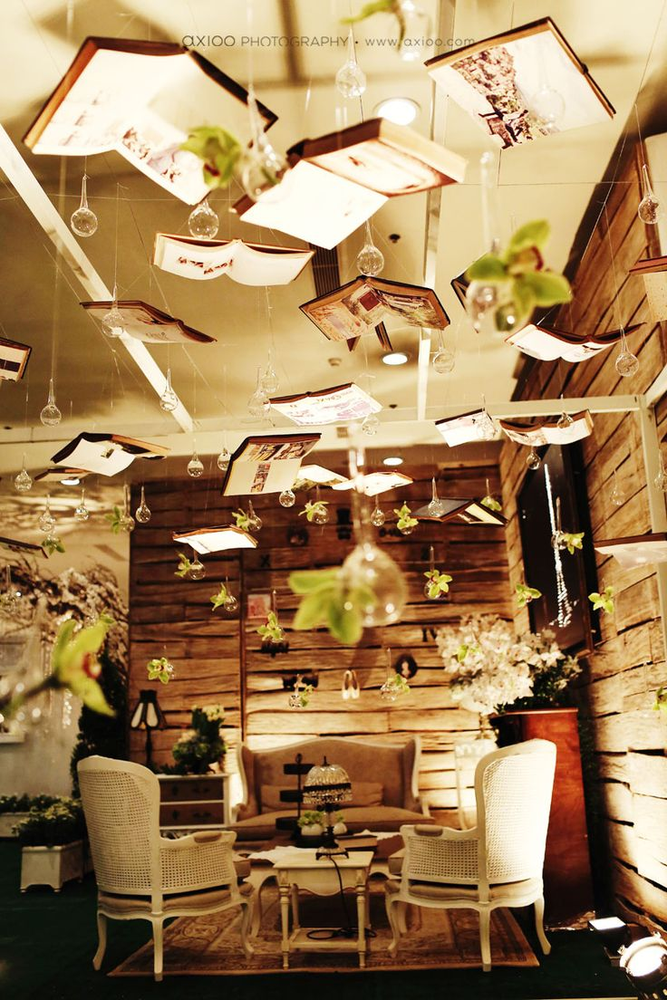 hanging books installation, fantasy, magical decor