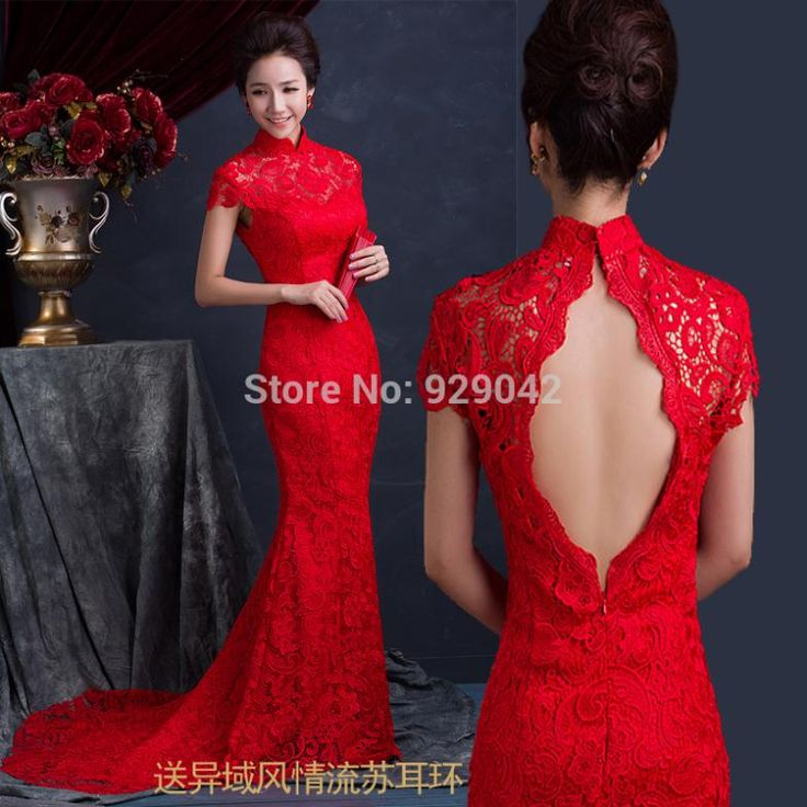 Simple Cheap backless cheongsam Buy Quality cheongsam dress directly from China cheongsam dress long Suppliers red lace mermaid backless cheongsam dresses long