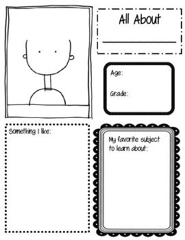 All About Me sheet for beginning of school year