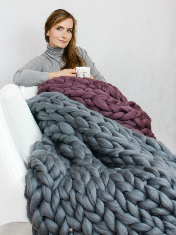 Chunky Knit Blanket, Blanket, Super Chunky Blanket, Giant knit blanket, Thick yarn blanket, Bulky Knit, Merino wool, Extreme knitting