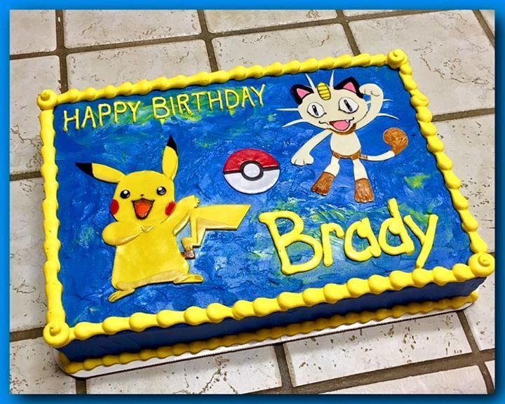 Pokemon Sheet Cake With Pikachu And Meowth The Great