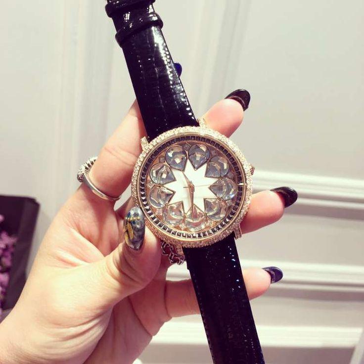 Luxury Ladies Diamond Quartz Watch Fashion Rhinestone Women Casual Watches Leather Clock Female Wristwatch Reloj Mujer OP001
